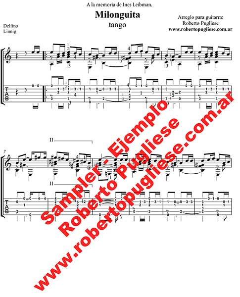 Milonguita 🎼 partitura del tango en guitarra. Con video