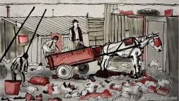 Personas y caballo con carro - Dibujo perteneciente al video del tango Melodia de arrabal de Carlos Gardel por Roberto Pugliese