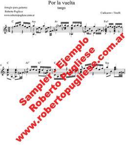 Por la vuelta 🎼 partitura del tango en guitarra. Con video