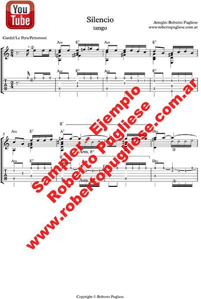Silencio 🎼 partitura del tango en guitarra. Con video