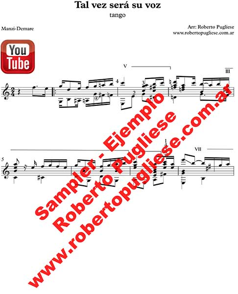 Tal vez sera su voz 🎼 partitura del tango en guitarra. Con video y mp3 gratis