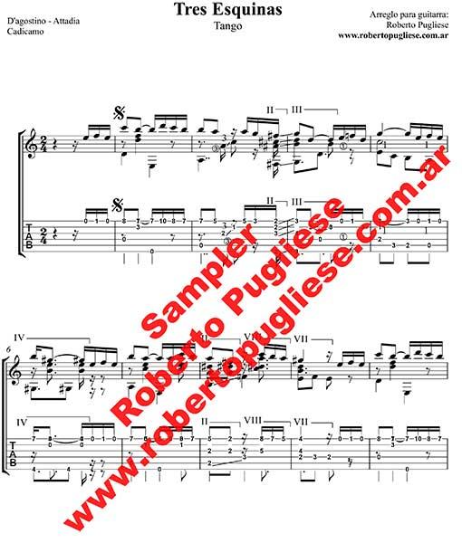 Tres esquinas 🎼 partitura del tango en guitarra. Con video y Mp3 gratis.