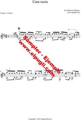 Cara sucia 🎼 partitura del tango en guitarra. Mp3 gratis