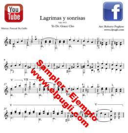 Lágrimas y sonrisas 🎼 partitura del vals en guitarra. Mp3 gratis