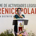 Con el apoyo de los titulares de los tres Poderes del Estado rinde su informe de labores la diputada Berenice Polanco Córdova