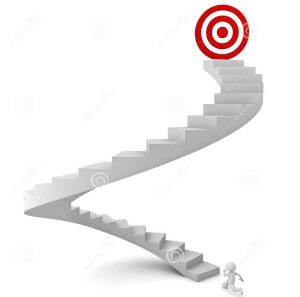 http://www.dreamstime.com/royalty-free-stock-image-d-man-running-to-target-top-stairs-over-white-background-image30387376
