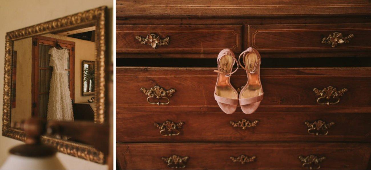vestido de novia de jordi anguera con zapatos de terciopelo rosa