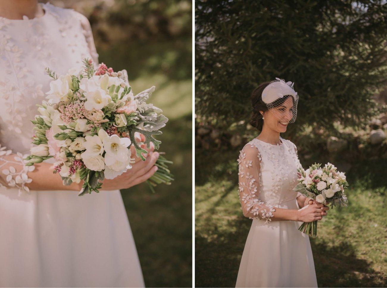ramo de novia de flores blancas y tocado de novia de invierno
