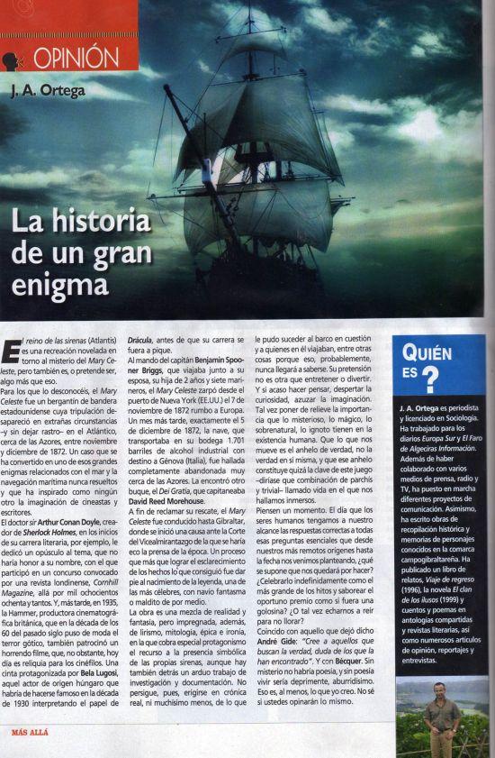 Página que la revista Más Allá dedicó en diciembre de 2011 al misterio del Mary Celeste y a J. A. Ortega