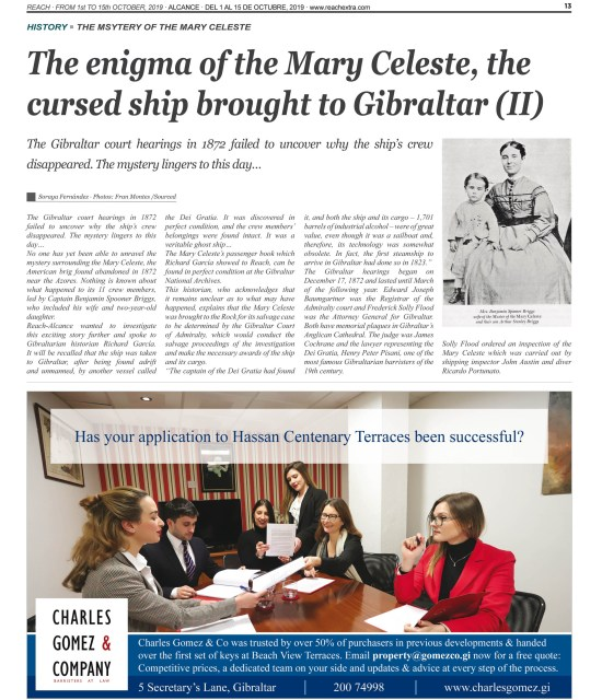 Página 13 de la revista Reach Extra Alcance con un reportaje sobre el misterio del Mary Celeste