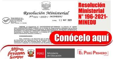 Autorización del uso del canal virtual denominado Mesa de Partes Virtual para la recepción de solicitudes y atención de procedimientos administrativos Resolución Ministerial N° 196-2021-MINEDU.
