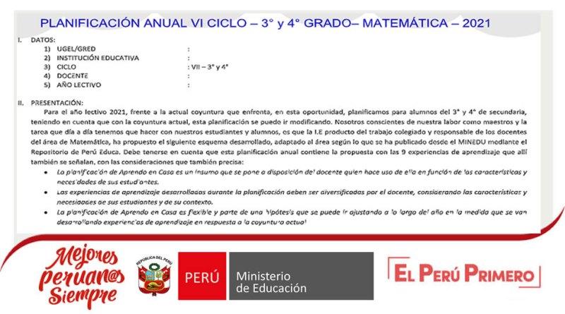 Planificación Anual del Área Matemática 3° y 4° Nivel Secundaria del 2021[Descarga Aquí]