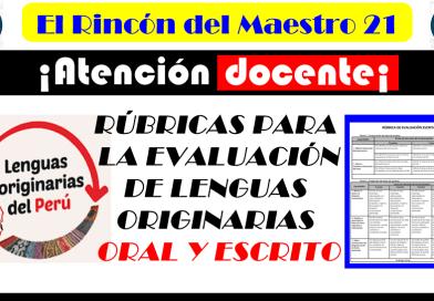 ¡Atención Docente! Conoce las rúbricas para la evaluación de lenguas originarias. Oral y escrito