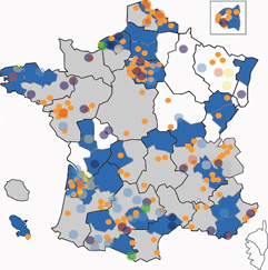 Map of agendas 21 in France