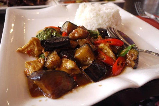 Aubergine and tofu with chilli and holy basil and vegetables