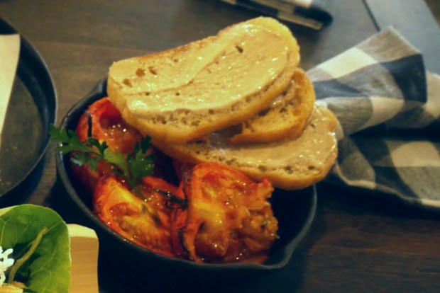 Slow wood roasted tomatoes with anchovy toasts