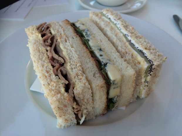 Sandwiches Rare roast beef and horseradish Cucumber, poppy seed and mascarpone Savoury chocolate, gorgonzola and rocket