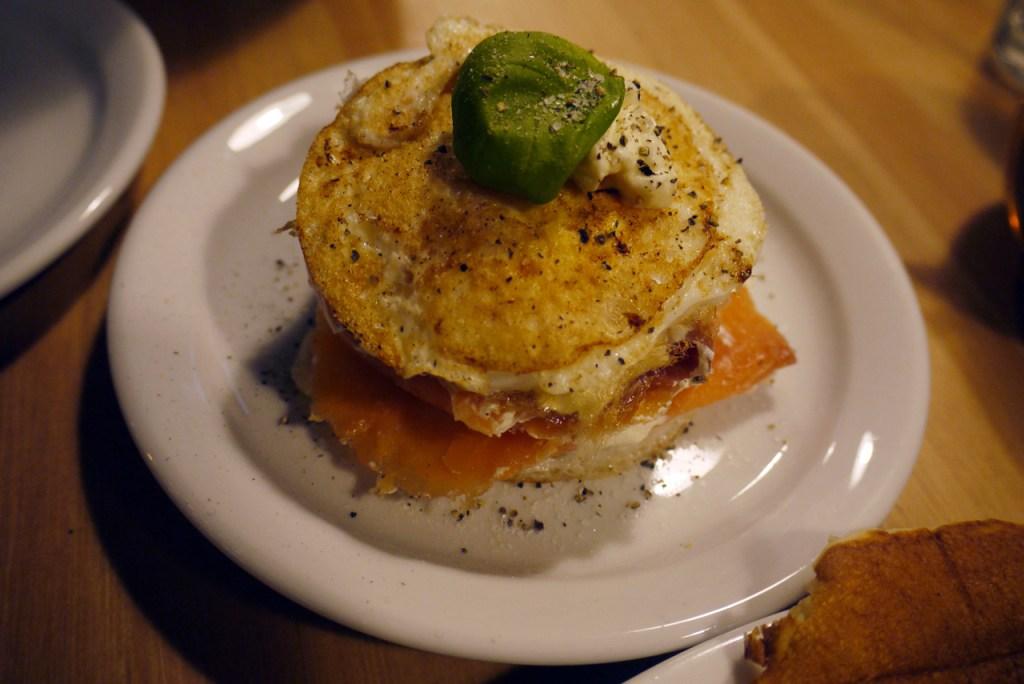 Smoked salmon, cream cheese and egg stack
