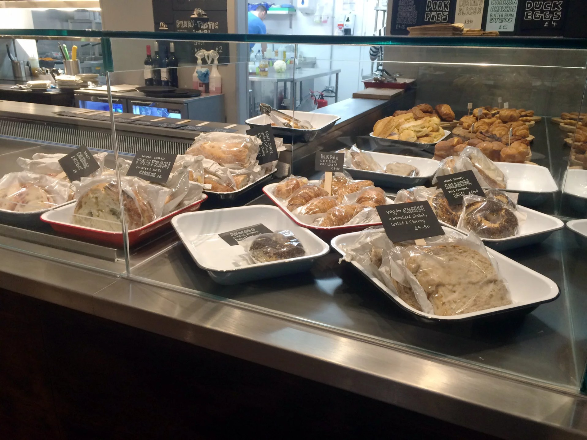 Sandwich and pastry selection