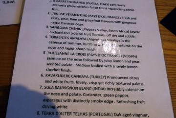 White wine jukebox menu