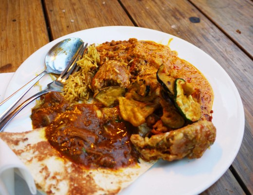 Zouk various curries and battered veggies