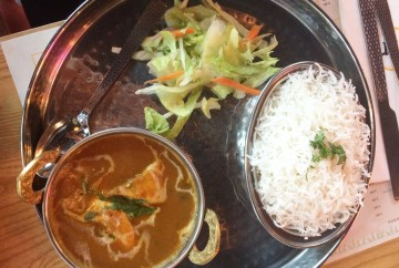 Kerala Fish Curry: Gently spiced and flavoured with coconut, served with rice