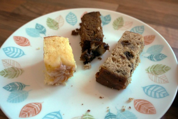 Cake selection (L-R) Coconut and lime cake, ginger and orange cake, Earl Grey Tea cake
