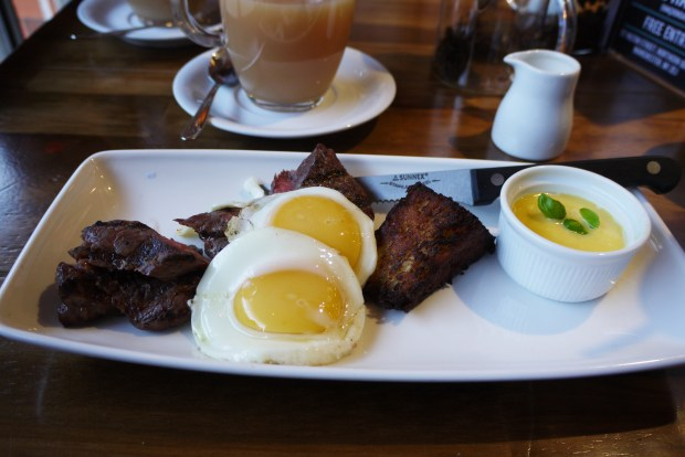 Steak and eggs (gf) £9.50