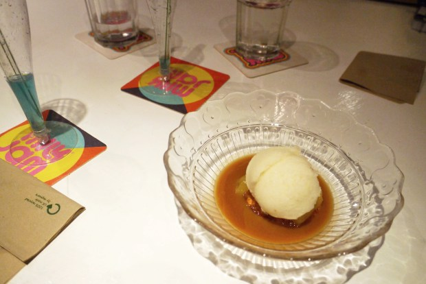Apple sorbet with pear, blue cheese biscuit and rosemary caramel sauce
