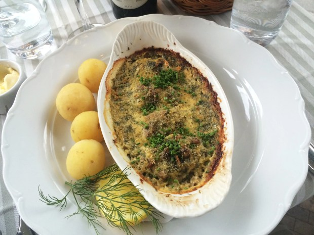 Casserole of fish Ulla Winbladh style served with shellfish sauce (195kr)