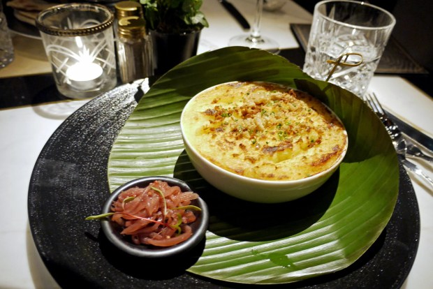 Asian spiced duck cottage pie with pork crackling and soured onions (£12.95)
