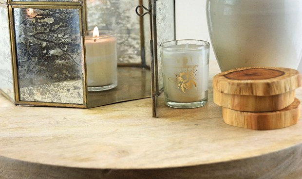 Bee candle and yew coasters