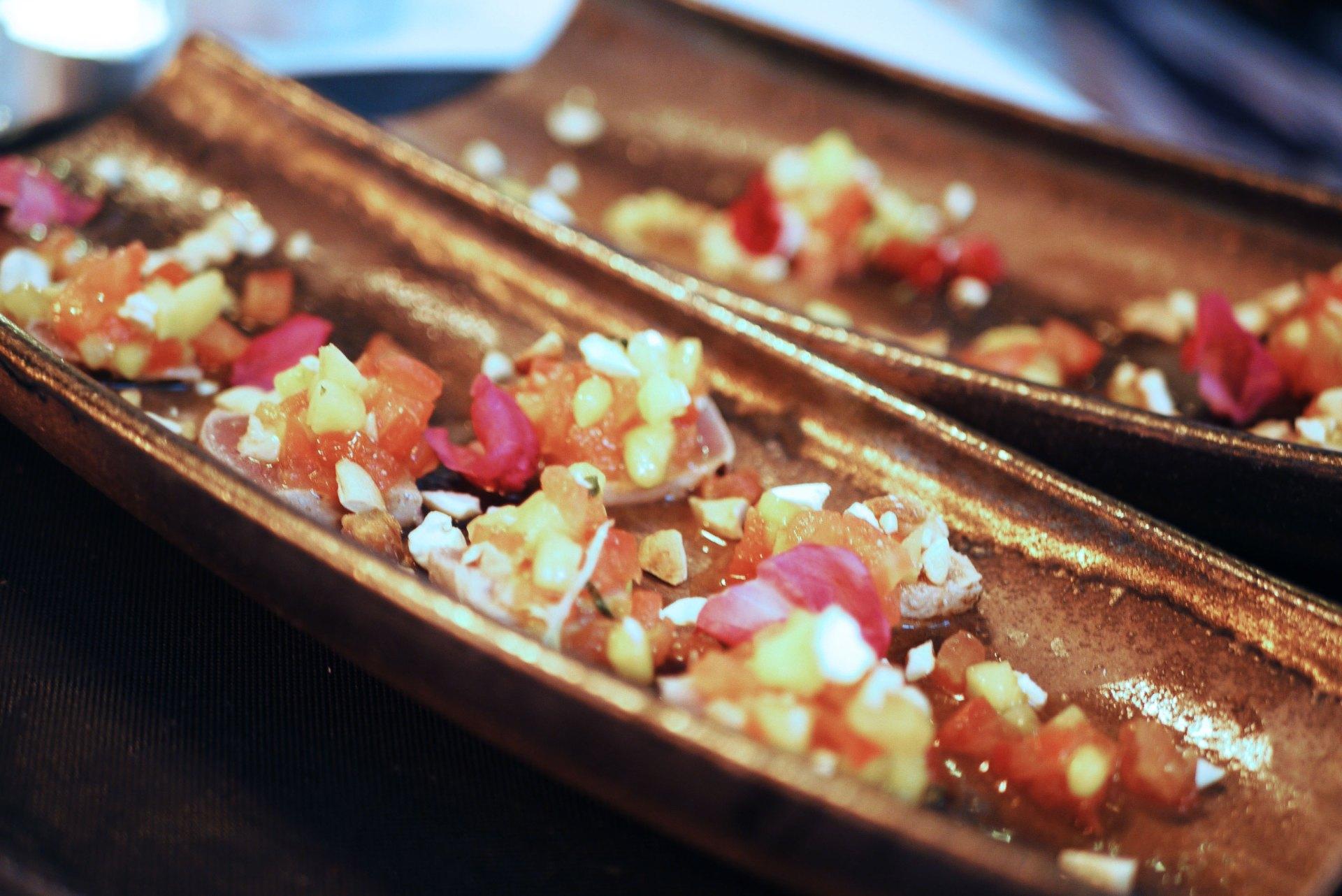Citrus cured tuna canapé