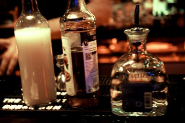 The bottles used for the cocktail