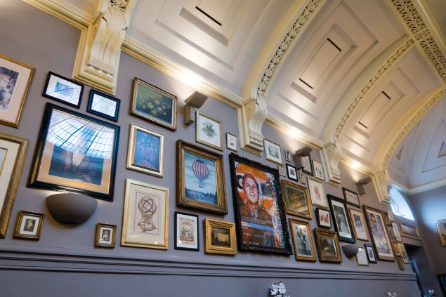 Artwork adorns the walls of Barristers Restaurant