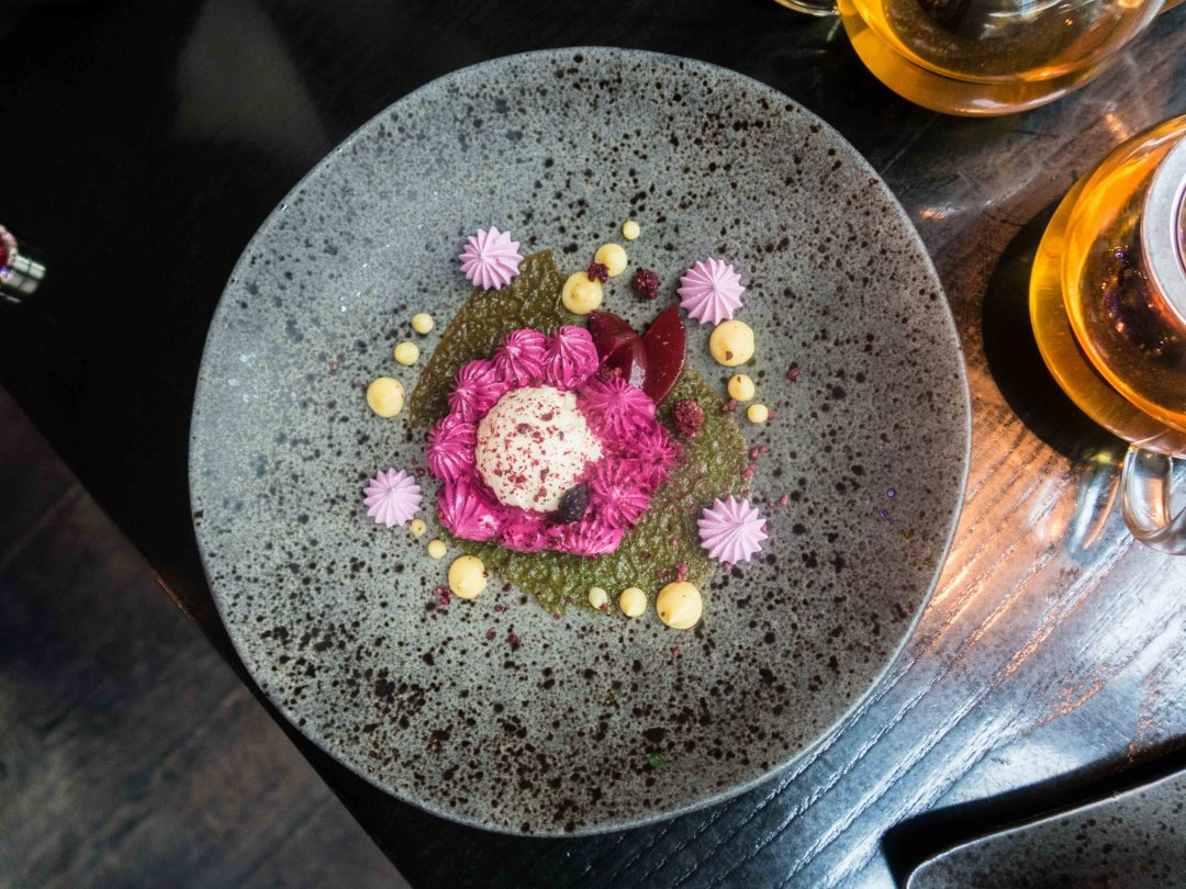 Baked Lotus Flower made from lavender, yuzu and honey