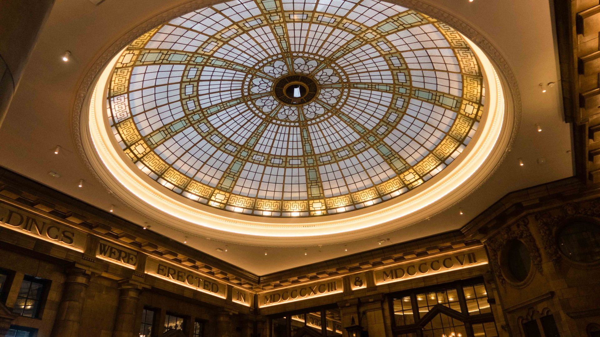 The domed glass ceiling at The Principal Hotel