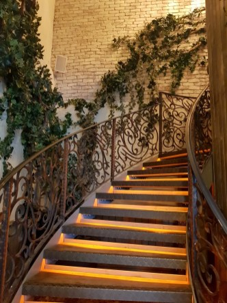 Stairway leading to the first floor restaurant. There is lift access too.