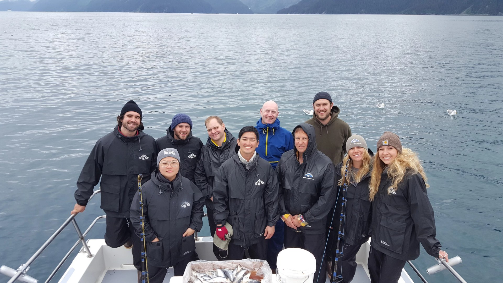The crew on board the boat