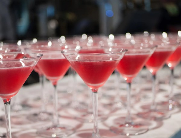Rows of cocktails