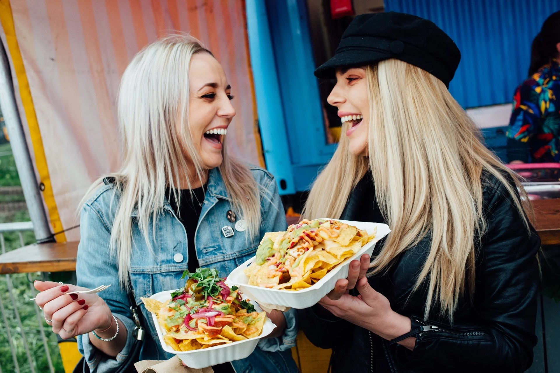 Two women with food