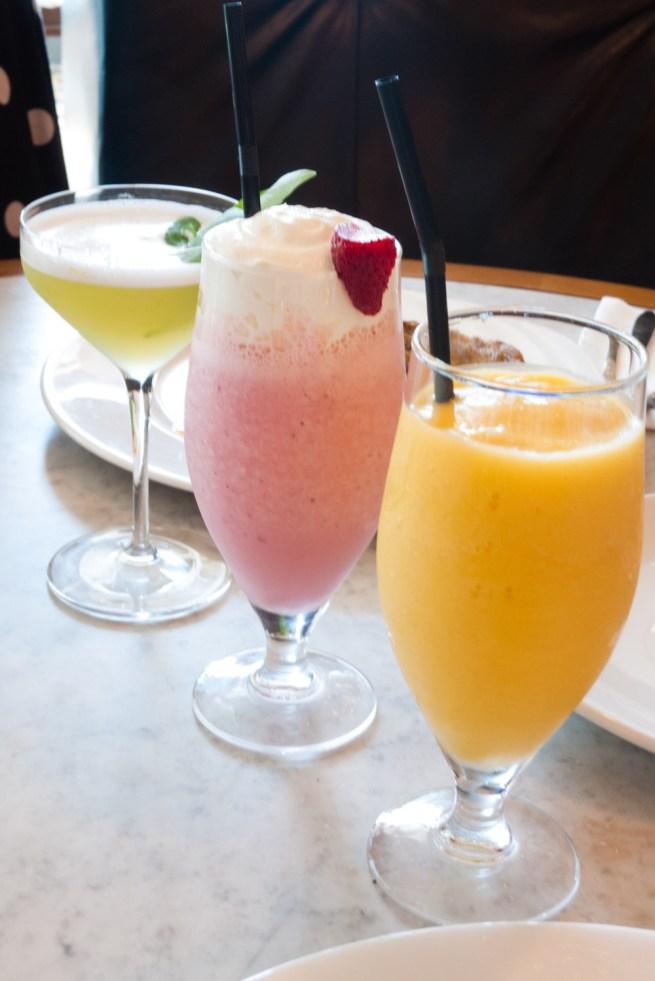 Fresco cocktail (£8), strawberry milkshake (£4.75) and pash n shoot smoothie (£4)
