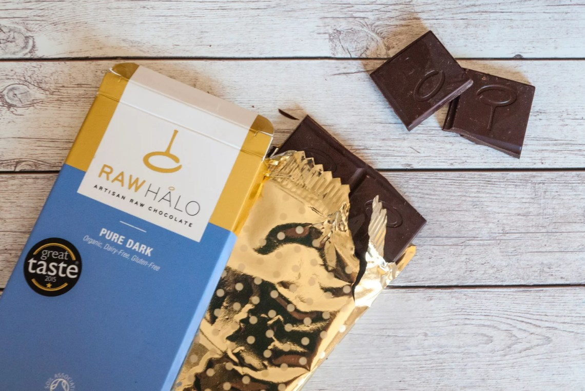 Pure Dark Raw Halo chocolate bar