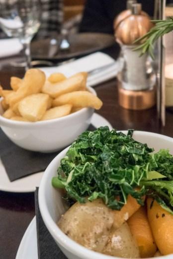 Mixed vegetables (v gf) £3.5 and fat cut chips (v) £3