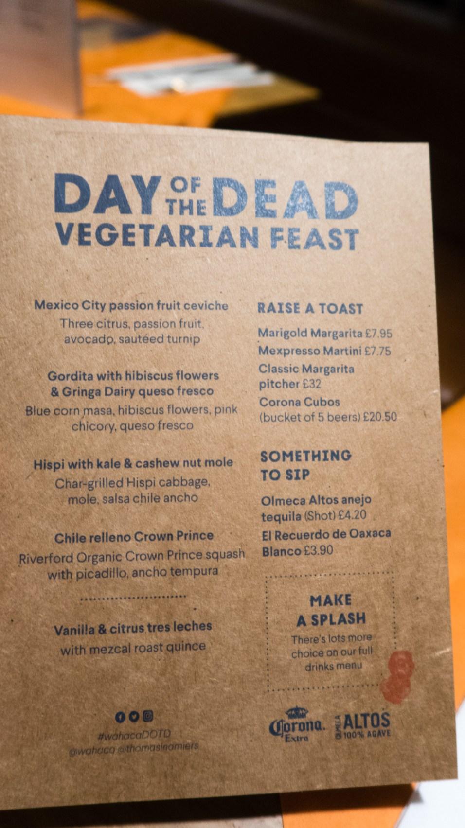 Day of the Dead Feast vegetarian menu