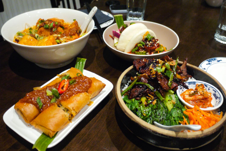 Food spread from Nasi Lemak street food