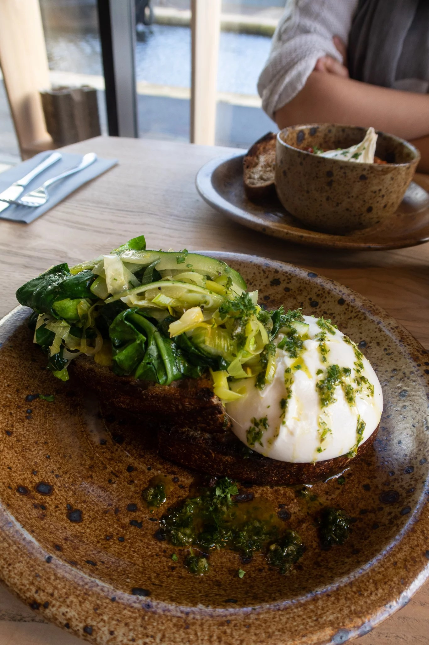 Burrata with buttered leeks and greens with salsa verde, served with 28 hour sourdough toast £8 (v)