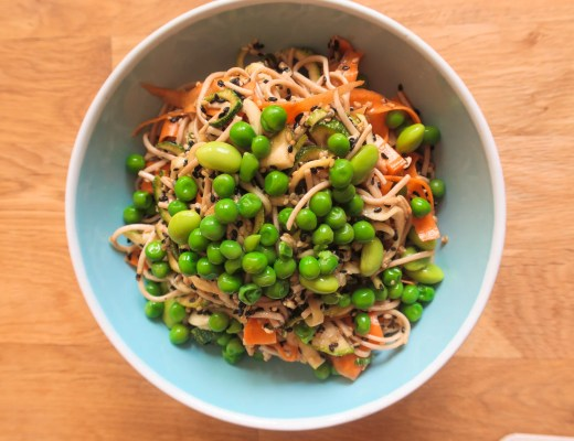 Soba salad recipe, photo taken from above