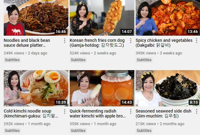 Screenshot of Maangchi Youtube