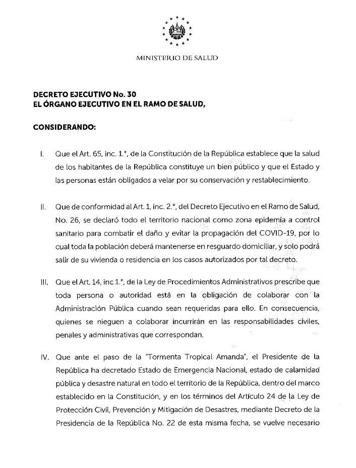 Decreto Ejecutivo 30 1